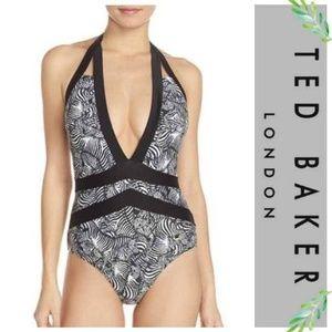 Ted Baker Meirian Zebra Print Halter Swimsuit